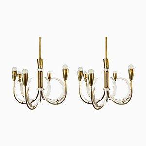 Italian Brass Chandeliers, Set of 2