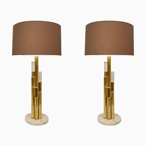 Brass and Glass Tubes Table Lamps, Italy, Set of 2