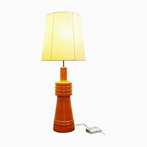 Lampada da tavolo grande in ceramica arancione