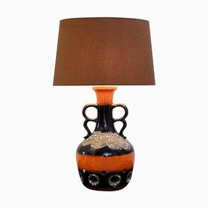Lampada da tavolo Fat Lava in ceramica arancione e marrone