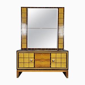 Commode à Tiroirs Art Déco avec Miroir sur Pied, Italie