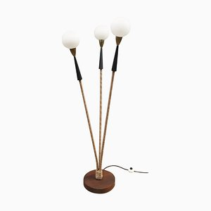3 Arms and Opaline Globe Floor Lamp