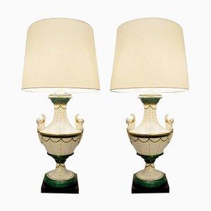 Italian Porcelain Table Lamps by Giulia Mangani, Set of 2