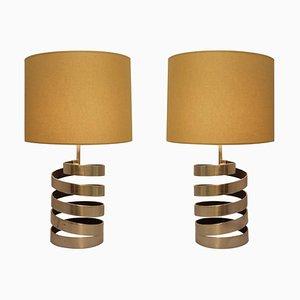 Tischlampen mit Gebogenem Fuß aus Gebürstetem Stahl von Jacques Charpentier, 2er Set