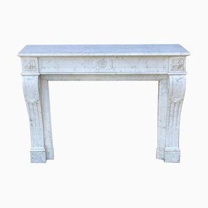 White Carrara Marble Fireplace in Louis XVI Style