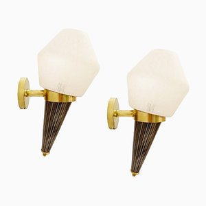 Italian Torch Wall Sconces in Brass and Glass, Set of 2