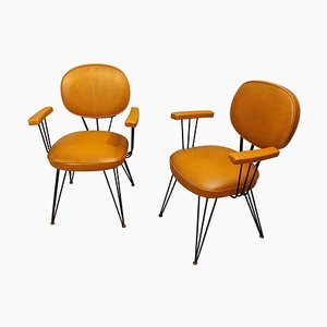 Black Lacquered Metal Structure Armchairs, Italy, 1950s