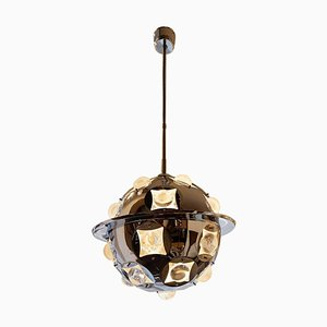 Chromed Metal Glass Ceiling Lamp by Oscar Torlasco, Italy, 1960s