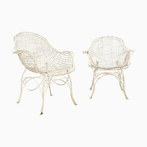 Wrought Iron Garden Armchairs, 1950, Set of 2