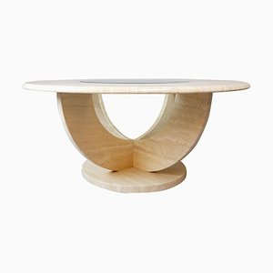 Round Travertine and Glass Coffee Table