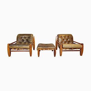 Wood and Leather Armchairs with Pouf, Set of 3