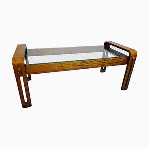 Mesa de centro italiana de madera curvada y vidrio