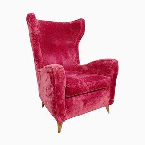 Large Italian High Back Red Velvet Armchair, 1950s