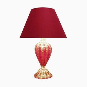 Lampe de Bureau Rouge et Dorée en Verre Murano de Barovier & Toso, 1950s