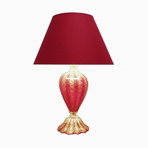 Red and Gold Murano Glass Table Lamp from Barovier & Toso, 1950s