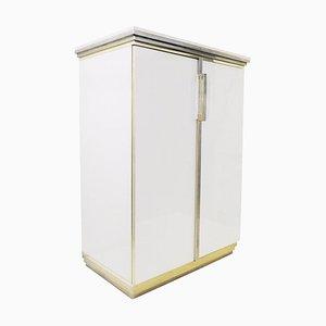 Brass, Travertine and Glass Cabinet by Belgo Chrome, Belgium, 1970s