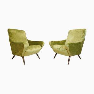 Italian Green Velvet Armchairs,1960s, Set of 2