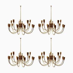 Brass Chandeliers, 1970s, Set of 2