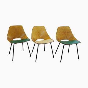 Tonneau Bentwood Chairs by Pierre Guariche for Steiner Edition, 1954, Set of 3