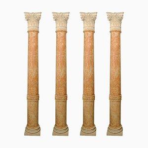 Halbsäulen aus rotem Verona Marmor und Vincenza Stein, 4er Set
