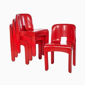Model 4867 Red Chairs by Joe Colombo for Kartell, Set of 4