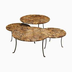 Petrified Wood and Wrought Iron Coffee Tables, Set of 4