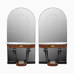 Art Deco Consoles in Burl Wood, Marble and Cast Iron with Mirror, 1930s, Set of 2