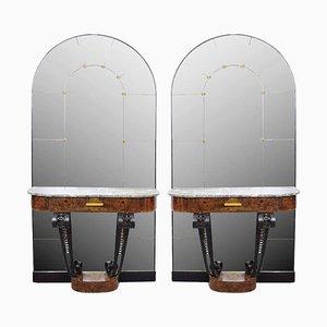 Consolle Art Deco in radica, marmo e ghisa con specchio, anni '30, set di 2