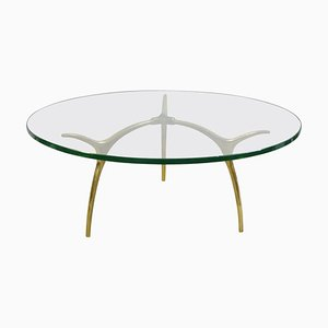 Coffee Table in Glass and Polished Brass by Kouloufi, 1970s