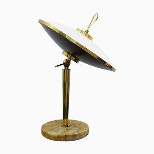 Lampada da tavolo con paralume regolabile in vetro opalino, Italia