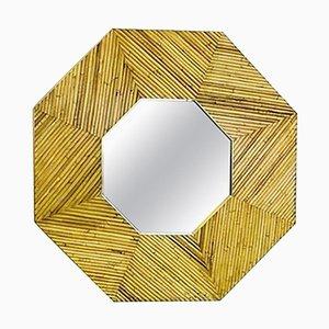 Specchio con cornice in ottone e vimini, Italia
