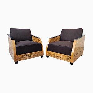 Club chair Art Deco in legno lucidato, set di 2