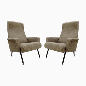 Italian Armchairs with Black Metal Structure, 1950s