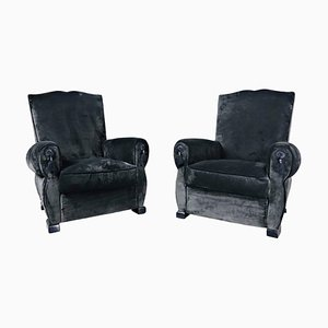 French Club Chairs, 1940s, Set of 2