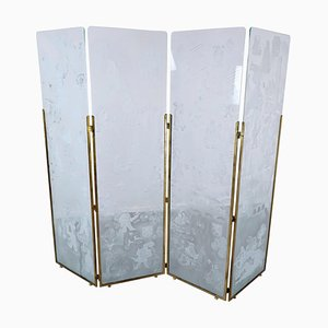 Belgian Folding Screen with Four Engraved Glass Panels, 1942