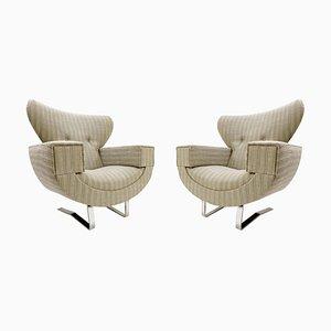 Große Armlehnstühle mit verchromten Beinen, 1970er, 2er Set
