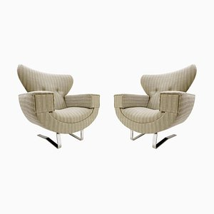 Large Armchairs with Chrome Legs, 1970s, Set of 2