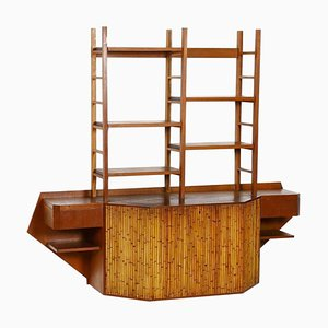 Teak and Bamboo Desk Wall Unit in the Style of Osvaldo Borsani