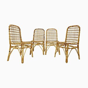 Rattan Chairs, 1960s, Set of 4