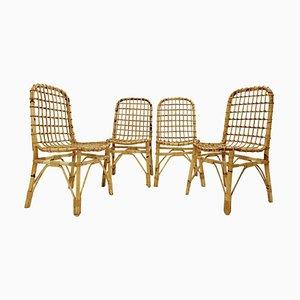 Rattan Stühle, 1960er, 4er Set