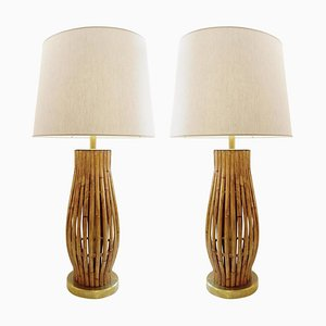 Large Brass and Bamboo Table Lamps, Set of 2