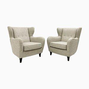 Italian Wingback Armchairs, Set of 2