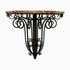 Art Deco Console Table in Wrought Iron and Marble, 1930s