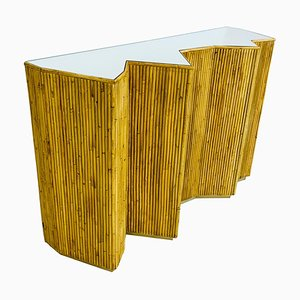 Glass and Rattan Console Table