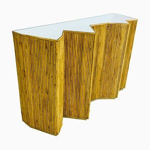 Table Console en Verre et Rotin