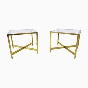 Italian Brass Side Tables with Glass Tops, 1970s, Set of 2