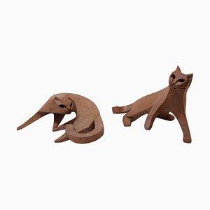 Scultura Cat in ceramica di Karel Dupont, Belgio
