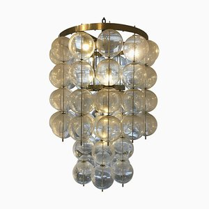 Large Czech Ceiling Light in Hand Blown Glass, 1960s