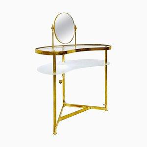 Coiffeuse en Laiton, Verre et Miroir par Luigi Brusotti, Italie
