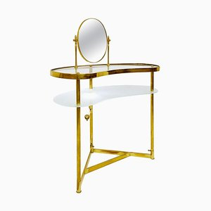Dressing Table in Brass, Glass and Mirror by Luigi Brusotti, Italy